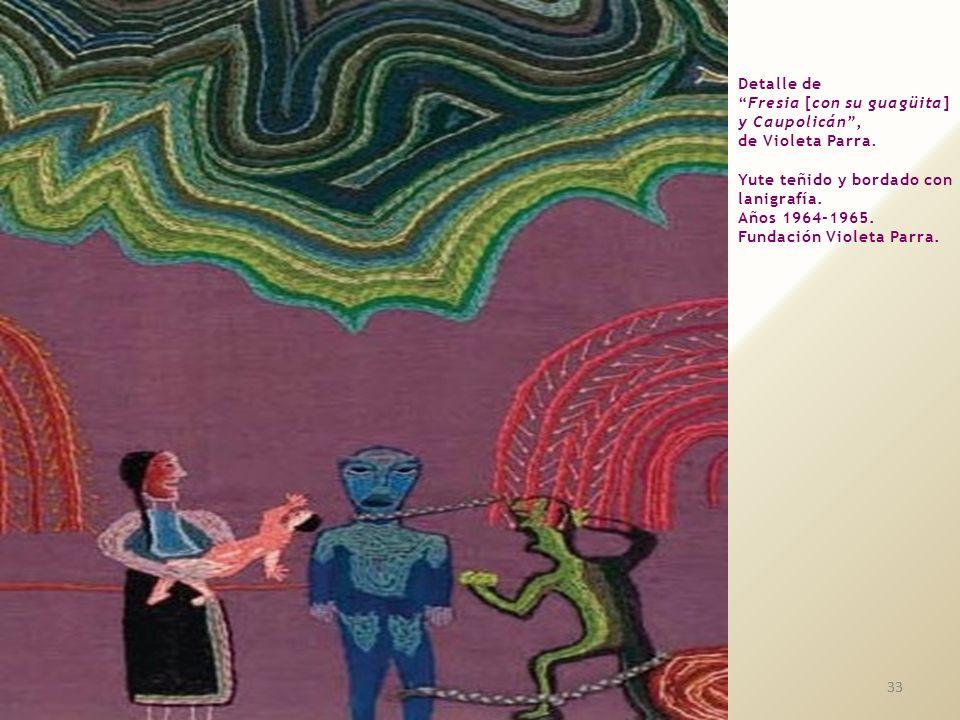 Detalle de Fresia [con su guagüita] y Caupolicán , de Violeta Parra. Yute teñido y bordado con lanigrafía.